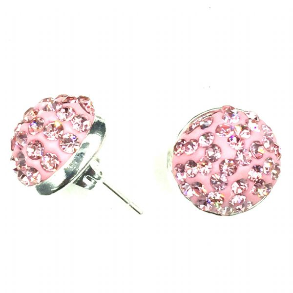 10mm Pave crystal stud earrings - baby pink  crystals - silver